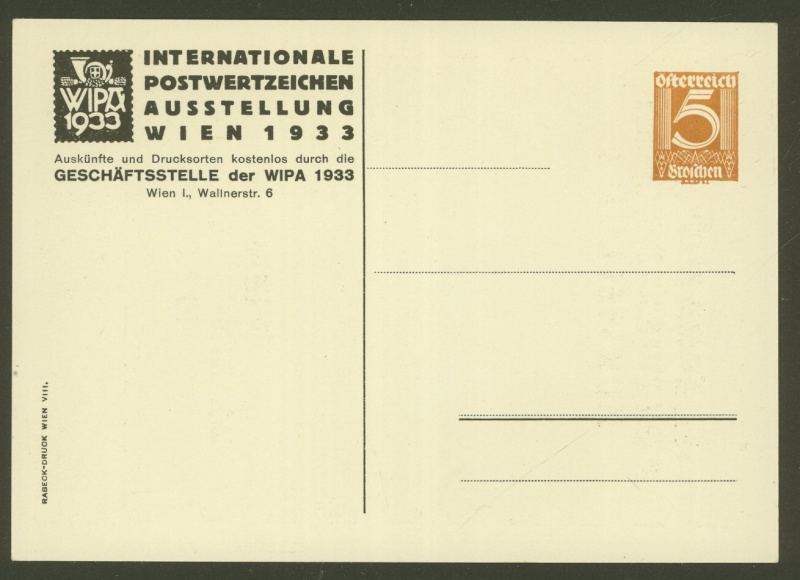 Privatganzsachen zur WIPA 1933 Pp103-17