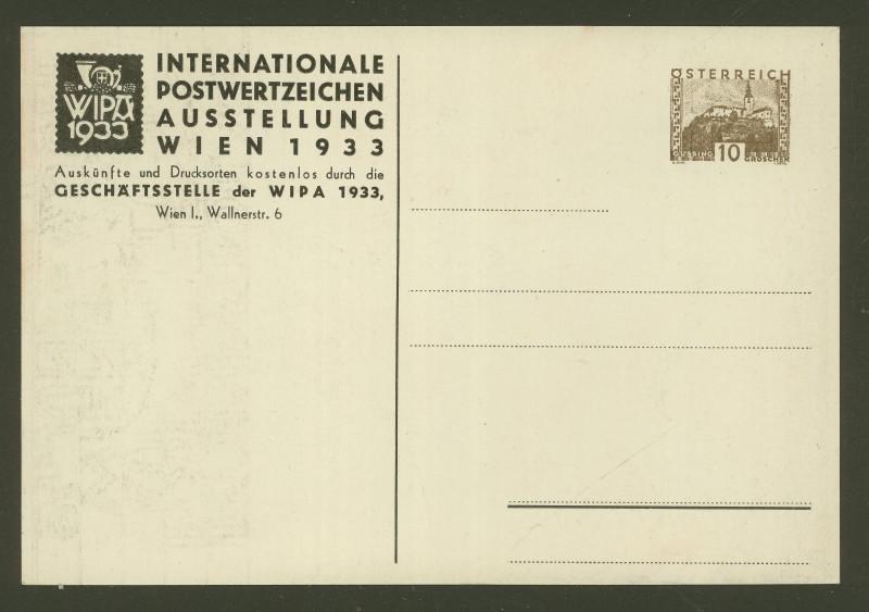 Privatganzsachen zur WIPA 1933 Pp108-11
