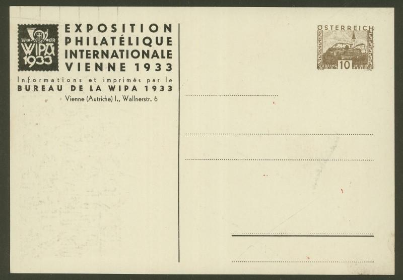 Privatganzsachen zur WIPA 1933 Pp108-13