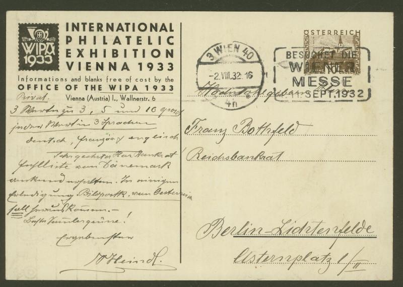 Privatganzsachen zur WIPA 1933 Pp108-15