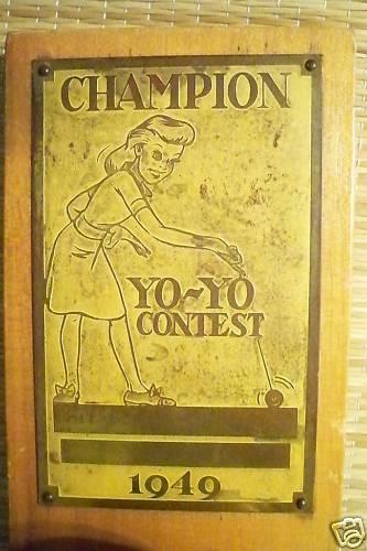 1949 DUNCAN YO-YO Contest Champion Trophy Bdefkc10