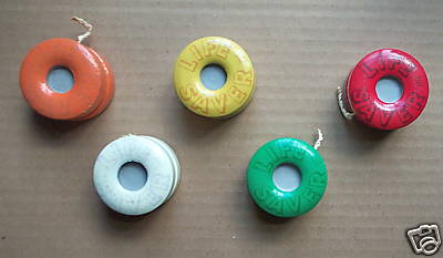 "Set 5 Fruit ""LIFE SAVER"" shaped Duncan Yoyos 1950's Bucvyu10"