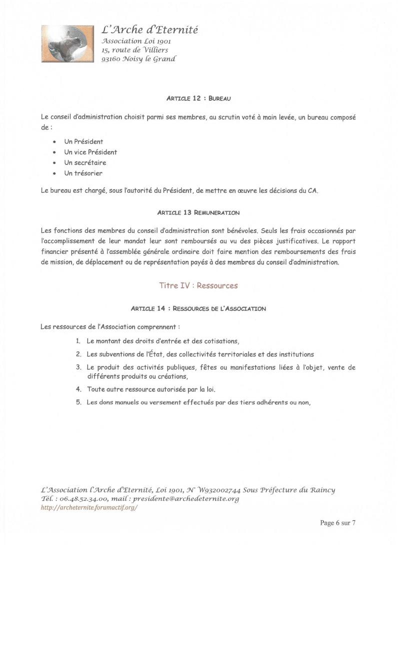 STATUTS DE L'ASSOCIATION L'ARCHE D'ETERNITE 2016_030