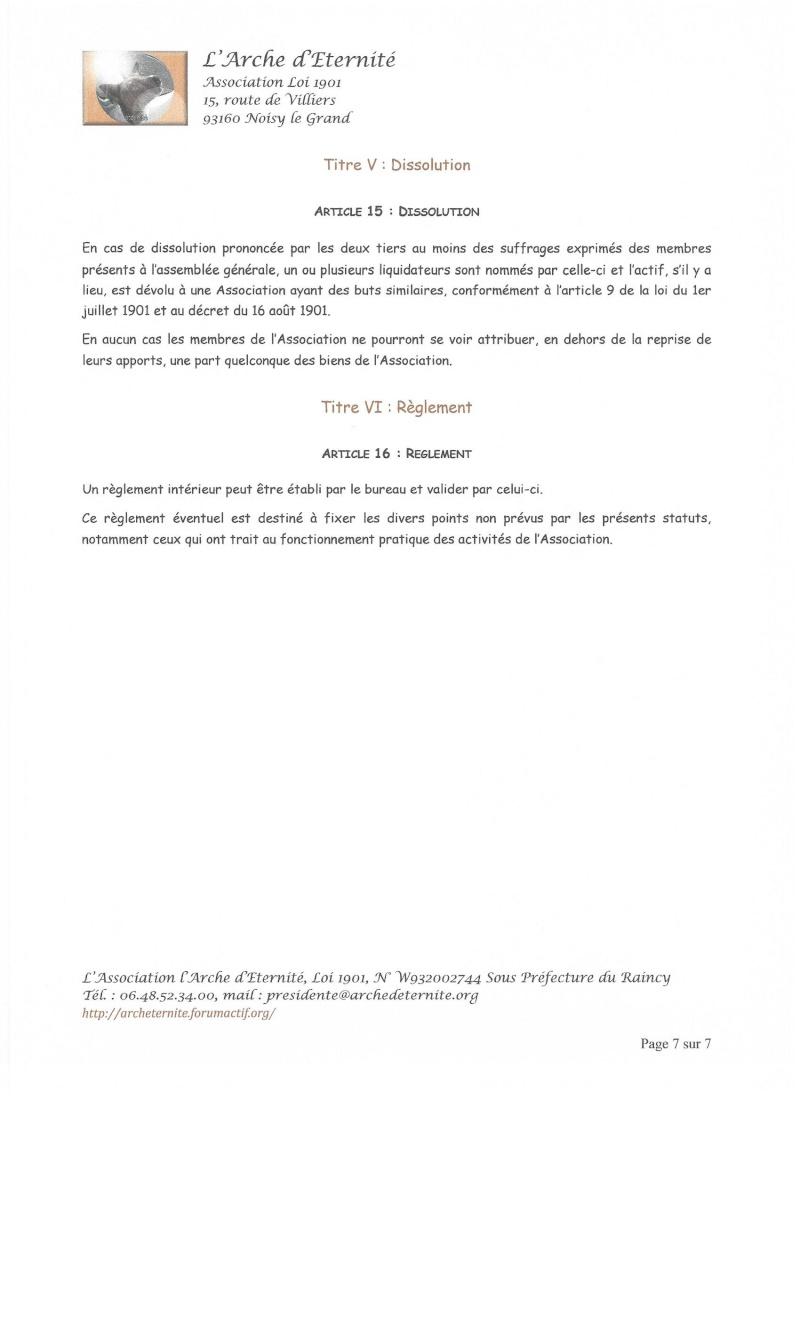 STATUTS DE L'ASSOCIATION L'ARCHE D'ETERNITE 2016_034
