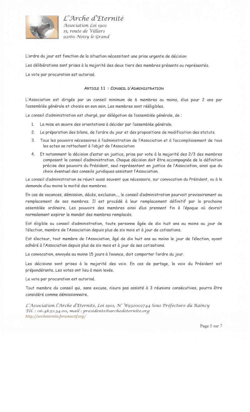 STATUTS DE L'ASSOCIATION L'ARCHE D'ETERNITE 2016_036