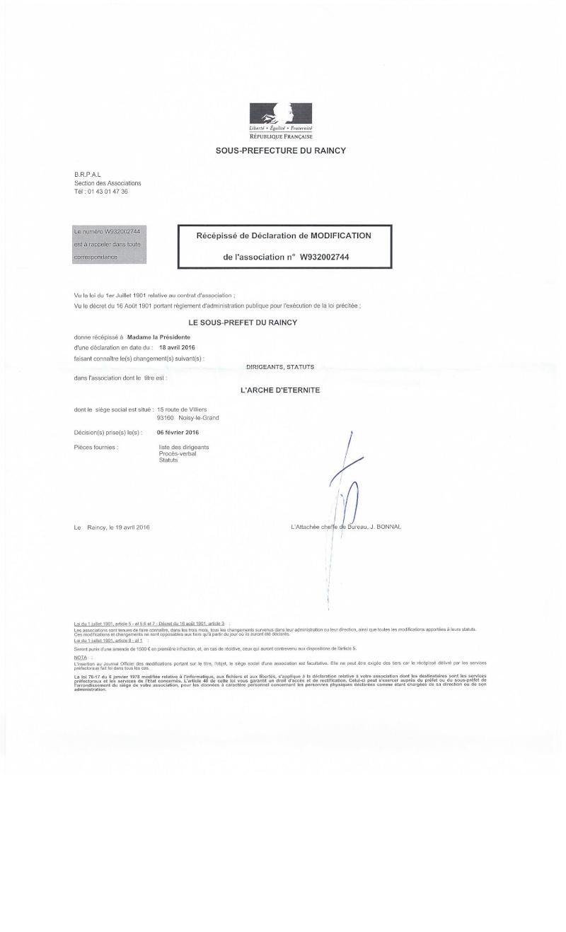 STATUTS DE L'ASSOCIATION L'ARCHE D'ETERNITE 2016_037