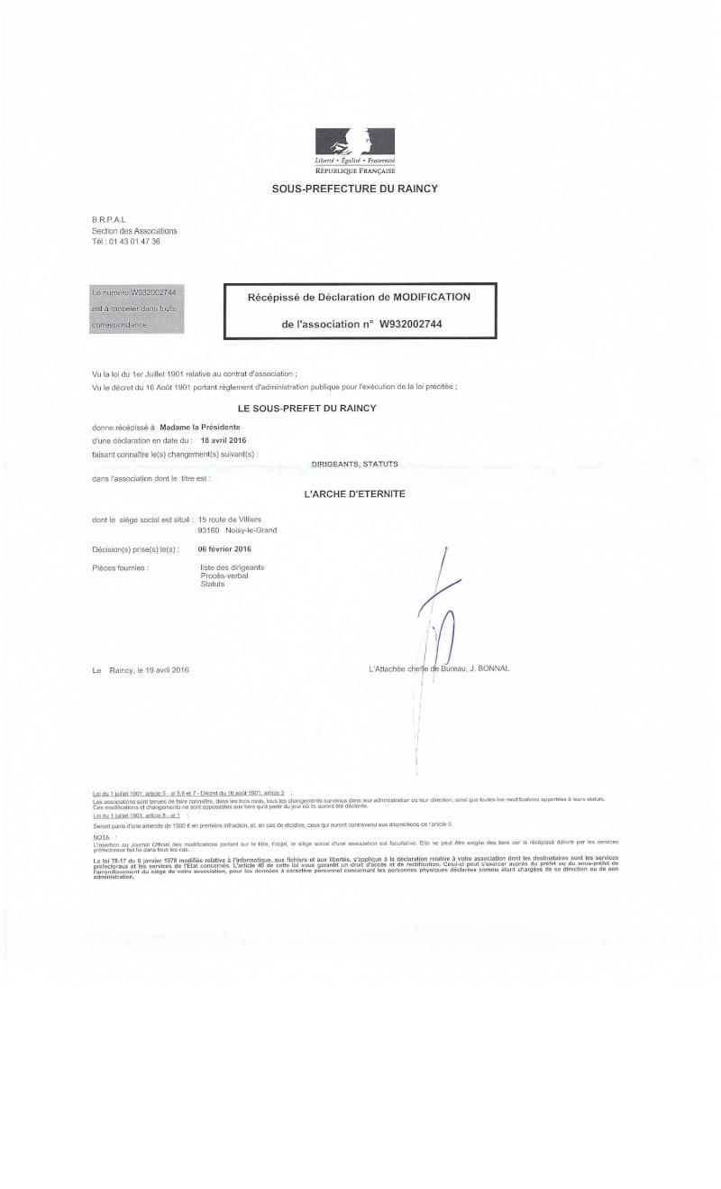 STATUTS DE L'ASSOCIATION L'ARCHE D'ETERNITE 2016_038