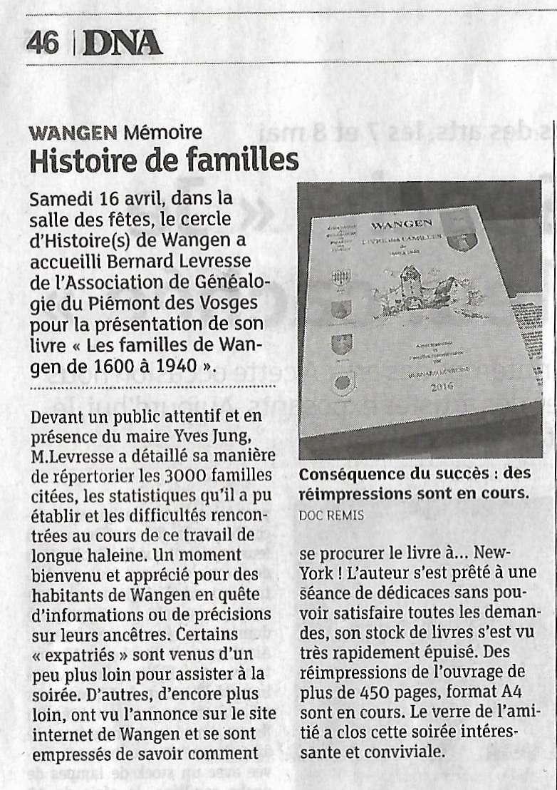 Conférence-Généalogie et Histoire-Le livre des familles de Wangen entre 1600 et 1940 de Bernard Levresse samedi 16 avril 2016 à 20h Scan0015