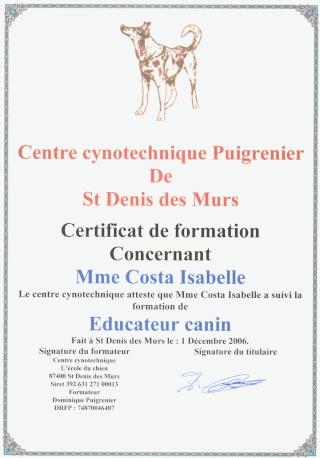 Mes certificats français animaliers Educat10