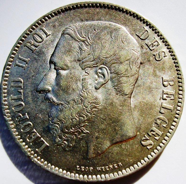 Bélgica, 5 Francos de 1869. Belgic10