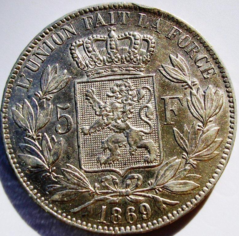 Bélgica, 5 Francos de 1869. Belgic11