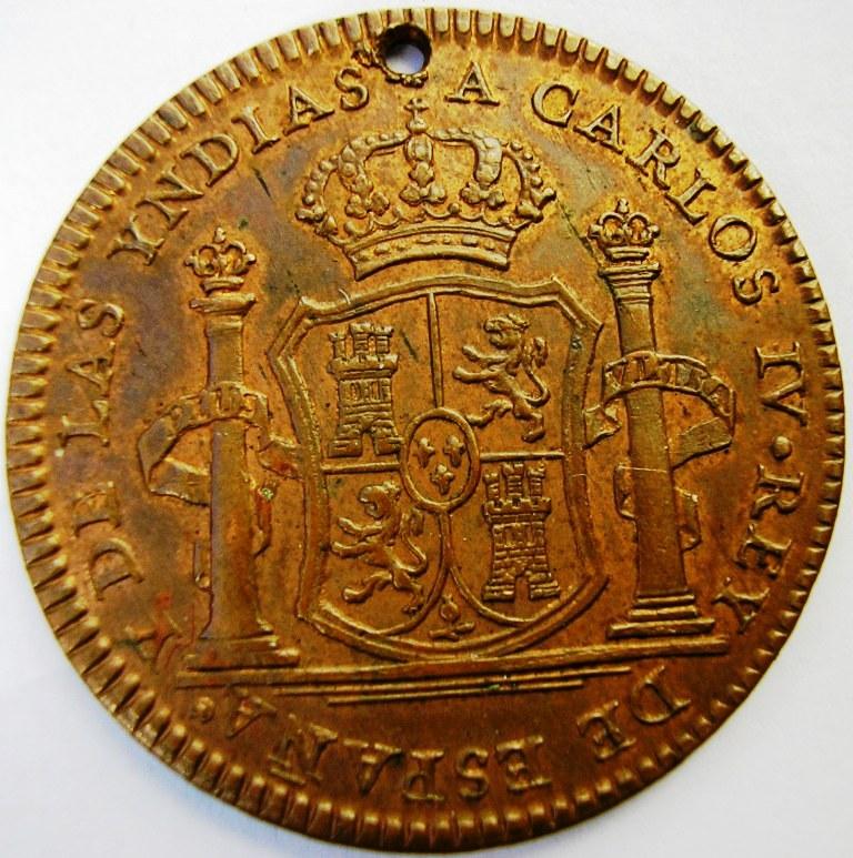 Medalla de proclamación de Carlos IV con valor de 2 reales. Car_iv10