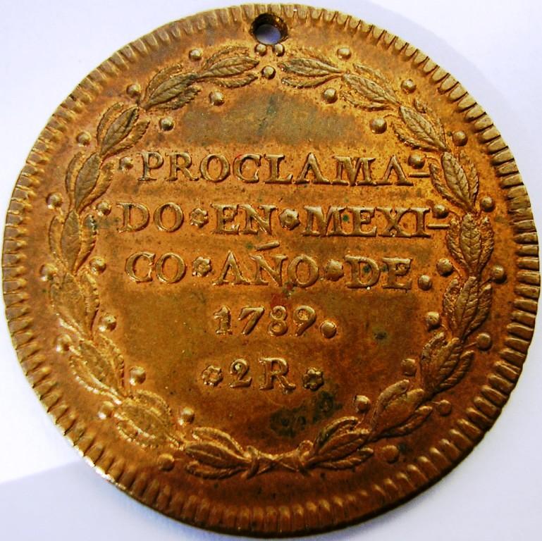 Medalla de proclamación de Carlos IV con valor de 2 reales. Car_iv11