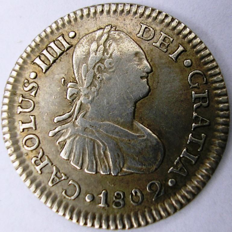 1802 Méjico Medio real. Car_iv14
