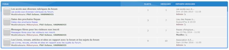 Les accès aux diverses rubriques du forum. X210