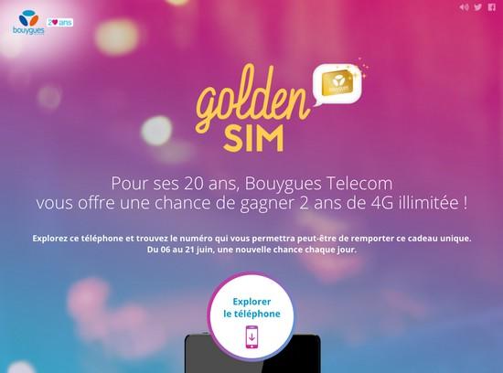 Bouygues Telecom fait gagner 700 Golden SIM avec la 4G illimitée Golden10
