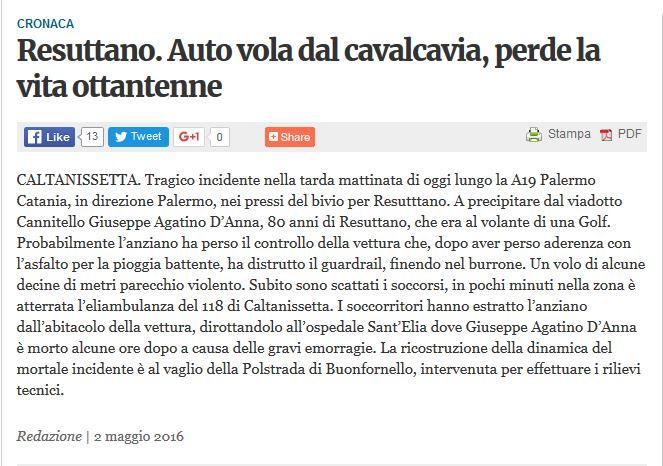 Incidente sulla Palermo-Catania, auto giù dal viadotto: muore un pensionato Res10