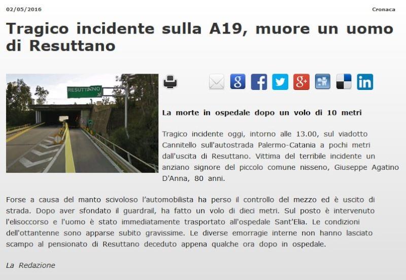 Incidente sulla Palermo-Catania, auto giù dal viadotto: muore un pensionato Res210