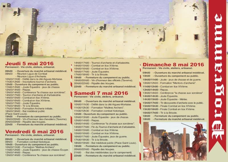 """[05, 06, 07 et 08/05/2016] """"Les Grands Tournois d'Aigues-Mortes"""", 3ème édition Progra10"""