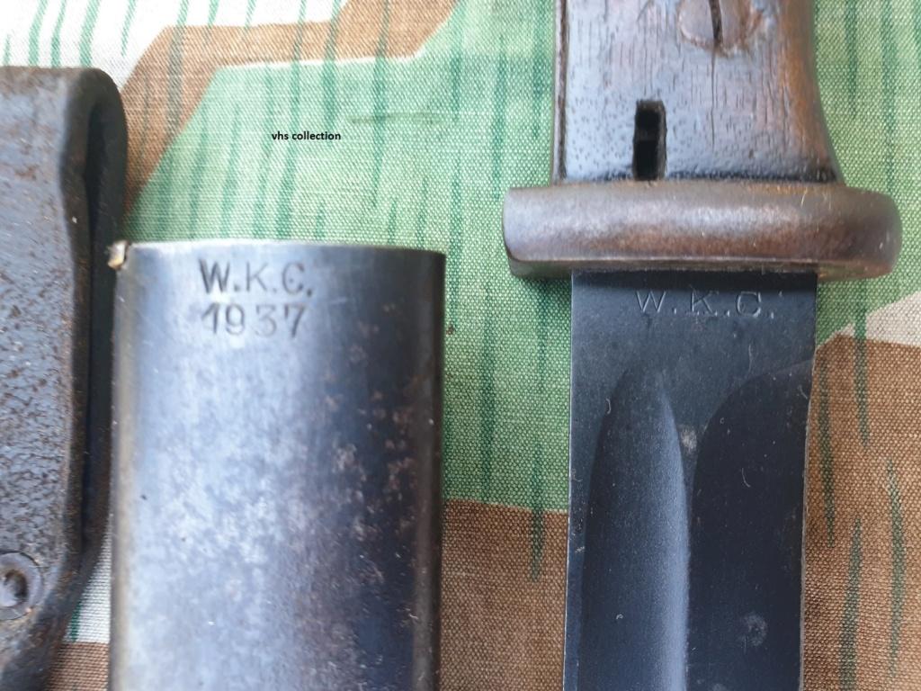 Baïonnette allemande ww2 fabrication privée WKC, plaquette bakélite rouge 20200440