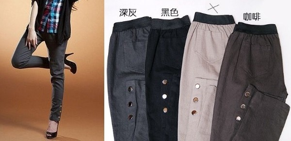 Brand New Skinny Pants with Shiny Side Buttons (3L) $40 3-210