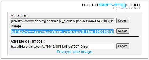 Pour envoyer une image, voilà comment faire Image310