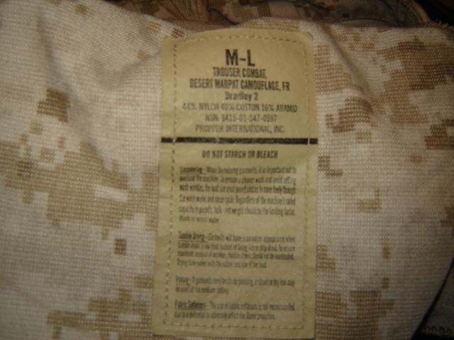 USMC FROG (Flame Resistant Organizational Gear) Desert MARPAT Uniform 00911