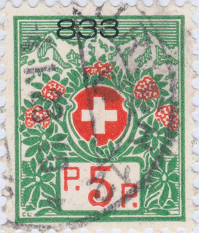 SBK 11A (Mi 11Ix) Schweizer Wappen und Alpenrosen 11a_2_14