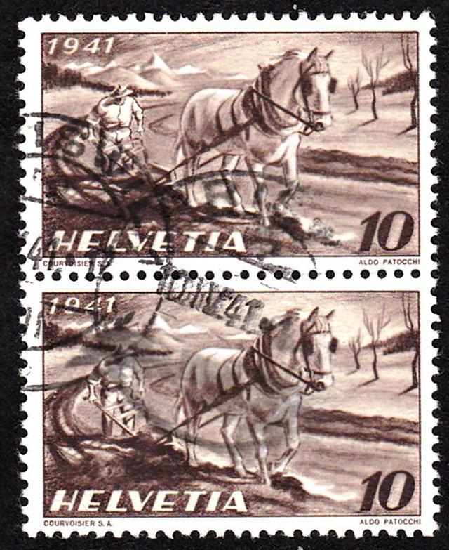 SBK 252 (Mi 386) Bauer, Pferd, Pflug 252_3_10