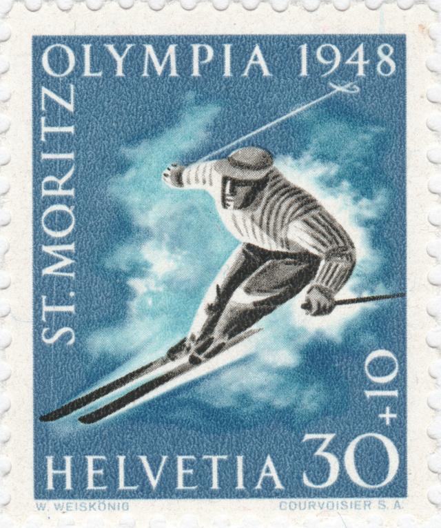 SBK W28w (Mi. 495x), Gedenkausgabe Olympische Winterspiele 1948, St. Moritz 28w_2_11