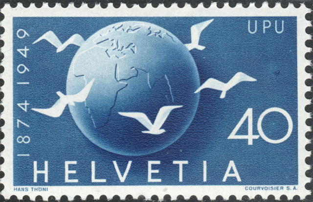 SBK 296 (Mi. 524), Weltkugel und Tauben 296-3-10