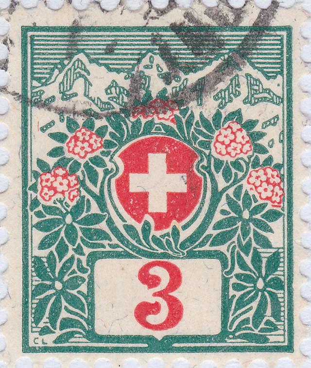 SBK 30 (Mi 30) Schweizer Wappen und Alpenrosen 30_2_010
