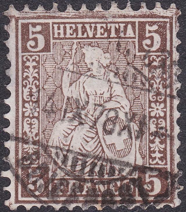 SBK 30 (Mi 22) 5 Rp braun, weisses Papier 1862 30_2_110