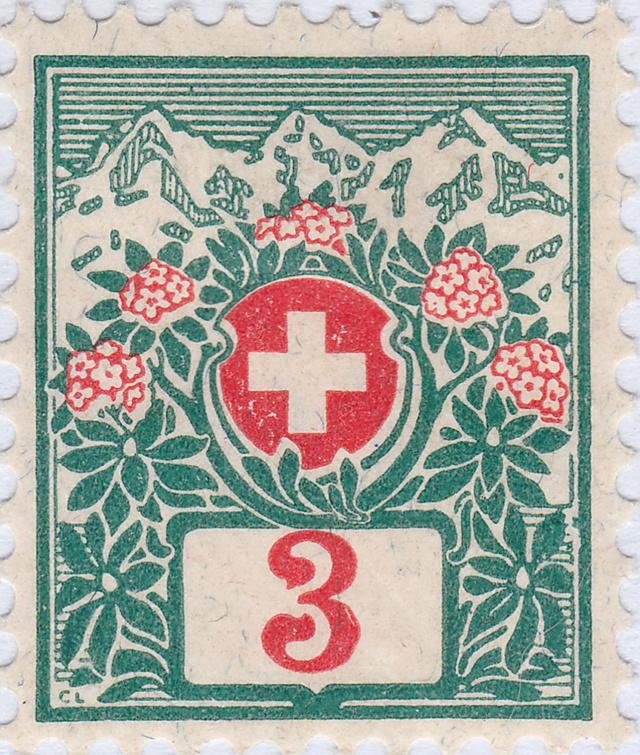 SBK 30 (Mi 30) Schweizer Wappen und Alpenrosen 30_2_211