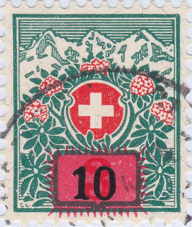 SBK 40 (Mi 40) Schweizer Wappen und Alpenrosen, Aufbrauchsausgabe 40_2_011