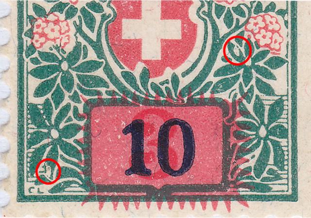 SBK 40 (Mi 40) Schweizer Wappen und Alpenrosen, Aufbrauchsausgabe 40_2_110