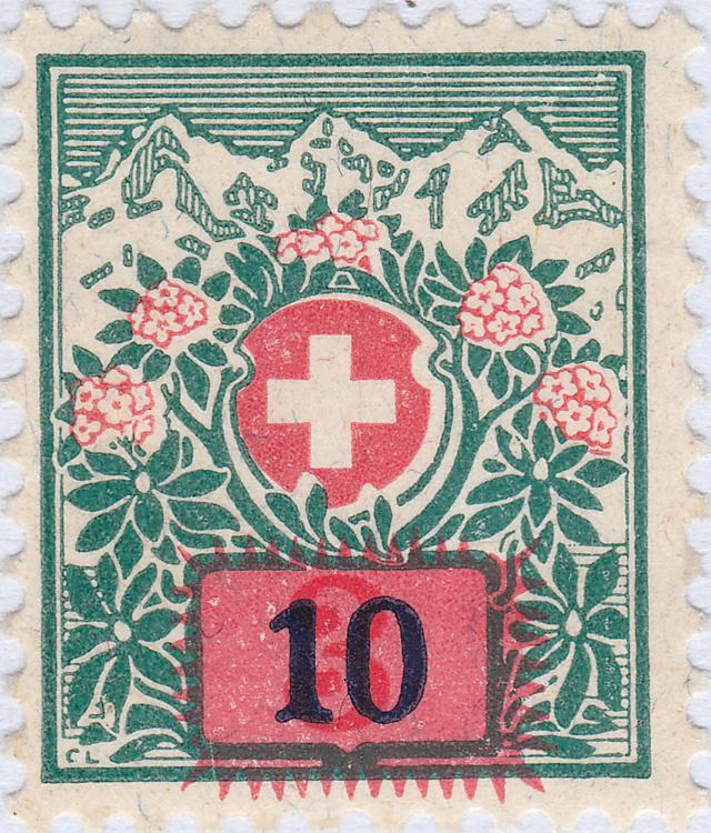 SBK 40 (Mi 40) Schweizer Wappen und Alpenrosen, Aufbrauchsausgabe 40_2_111