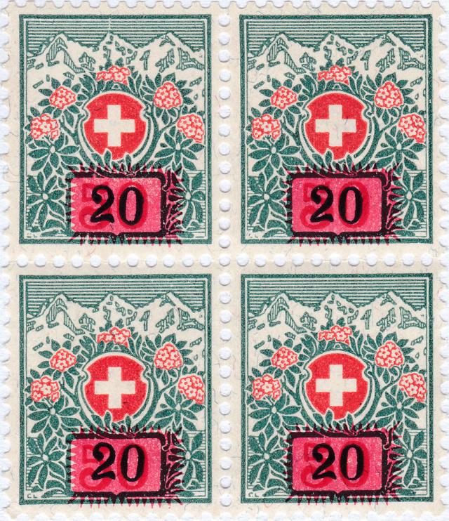 SBK 41, Schweizer Wappen und Alpenrosen,Aufbrauchsausgabe 41_2_010