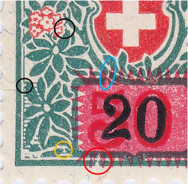 SBK 41, Schweizer Wappen und Alpenrosen,Aufbrauchsausgabe 41_2_012
