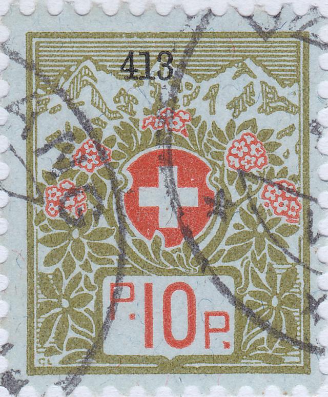 SBK 5A (Mi 5I) Schweizer Wappen und Alpenrosen 5a_2_211
