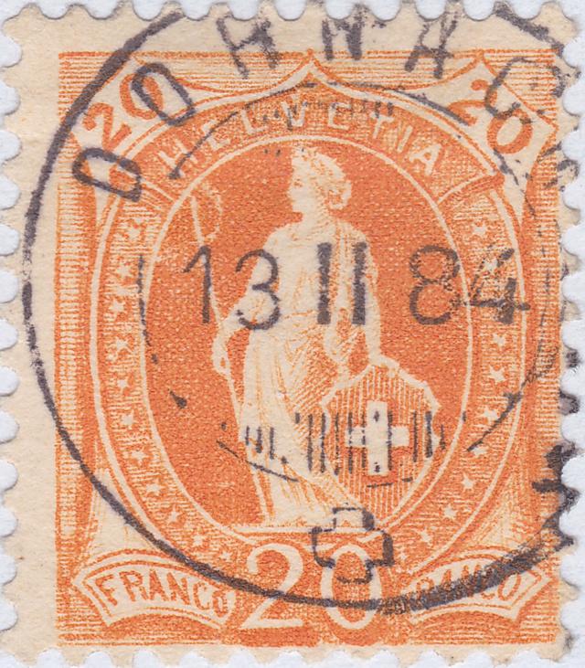SBK 66A, Stehende Helvetia 20 Rappen 66a_dz11