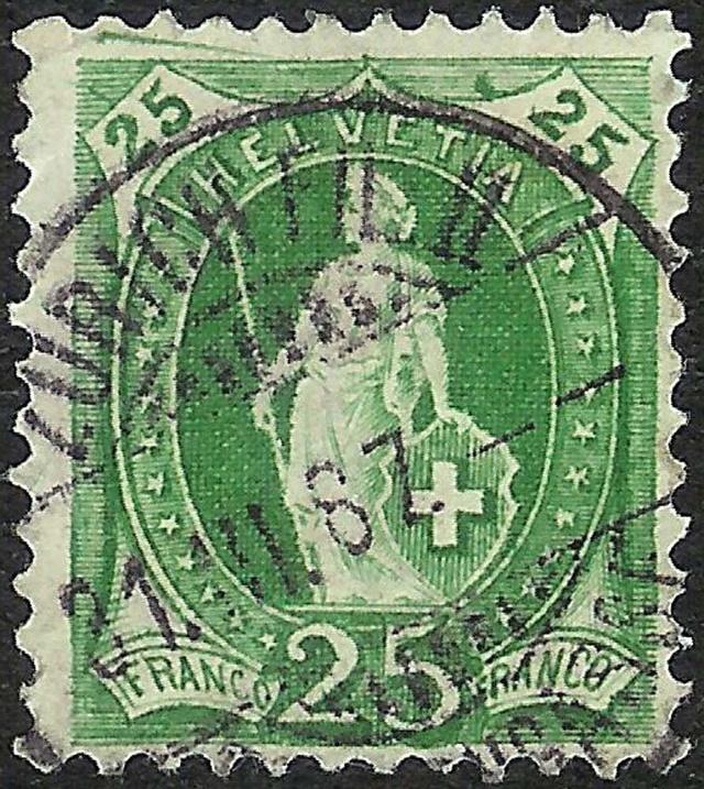 SBK 67A, Stehende Helvetia 25 Rp 67a_2_12