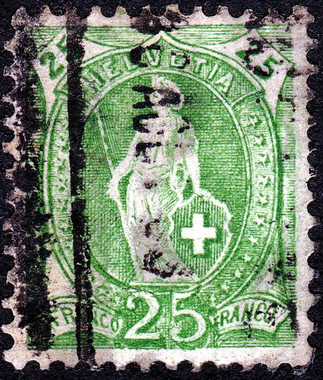 SBK 67A, Stehende Helvetia 25 Rp 67a_3_23