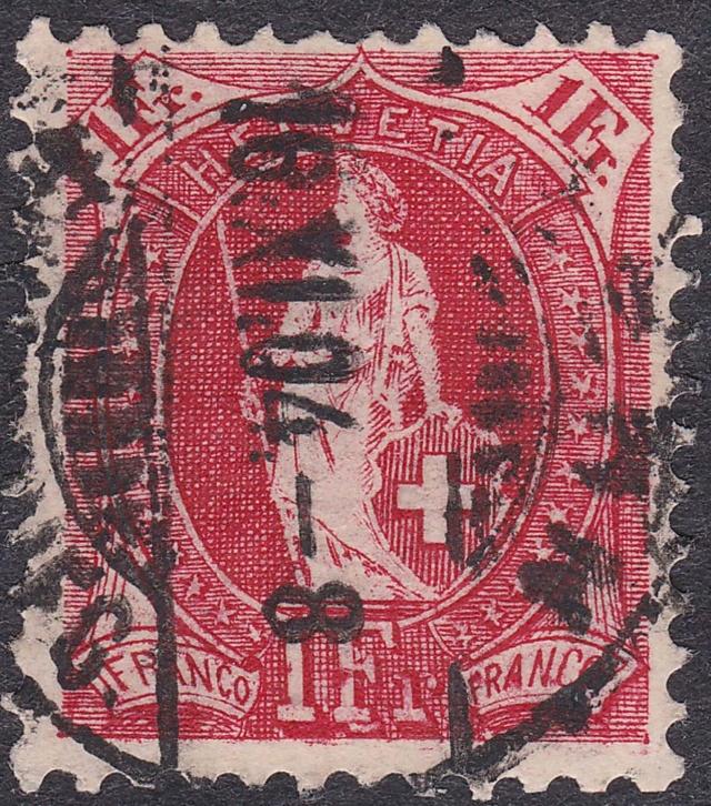 SBK 75E, Stehende Helvetia 1 Fr, karmin 75e_2_10