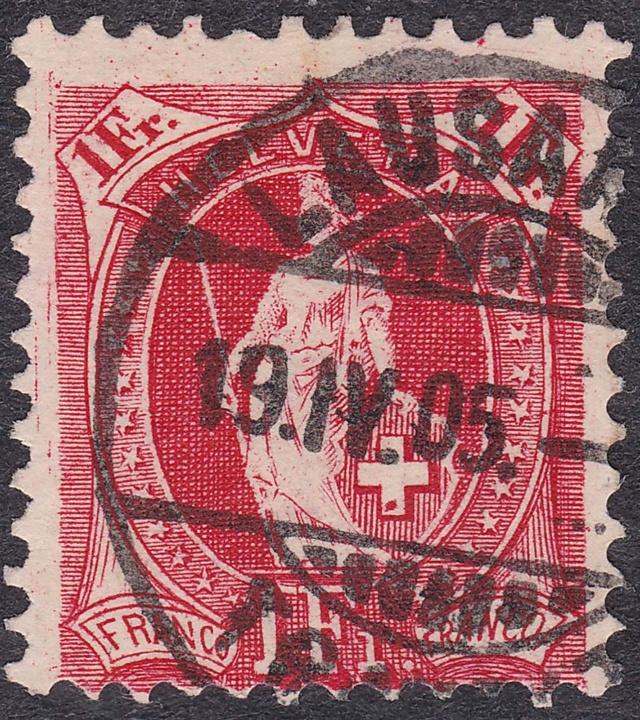 SBK 75E, Stehende Helvetia 1 Fr, karmin 75e_2_12
