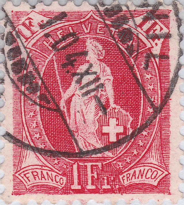 SBK 75E, Stehende Helvetia 1 Fr, karmin 75e_3_12
