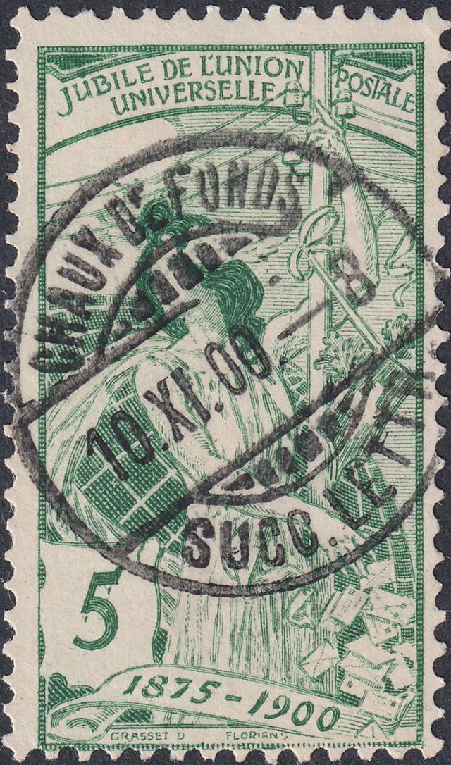 SBK 77C (Mi 71III) 5 Rp grün, 3. nachgravierte Platte 77c-2-10