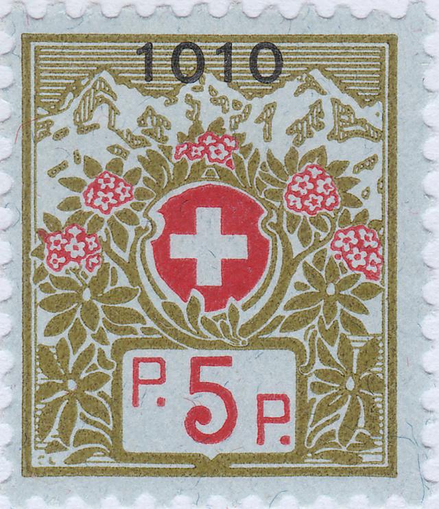 SBK 8 (Mi 8) Schweizer Wappen und Alpenrosen 8_2_0210