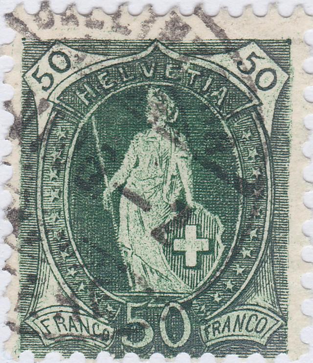 SBK 90A Stehende Helvetia 50Rp. grün 90a_3_12