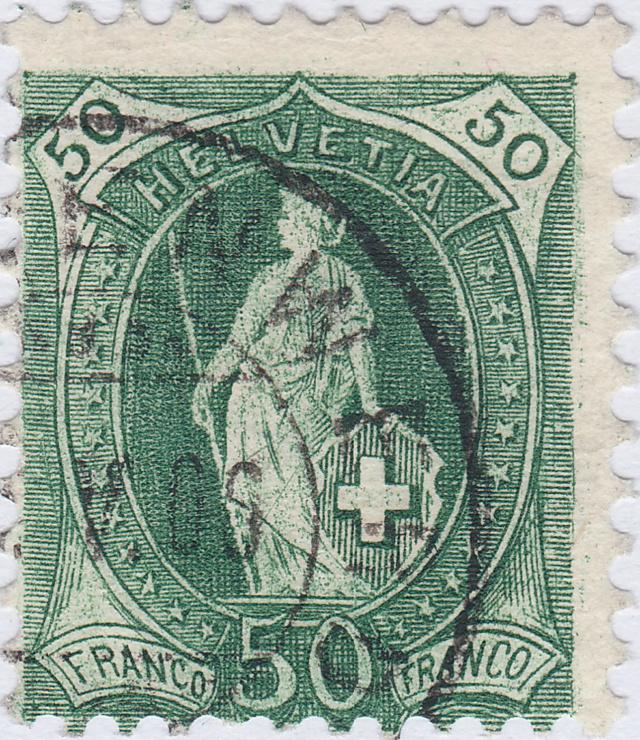 SBK 90A Stehende Helvetia 50Rp. grün 90a_3_14